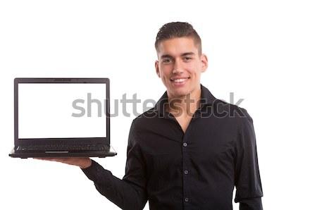 Termék bemutató fiatalember bemutat laptop számítógép üzlet Stock fotó © hsfelix