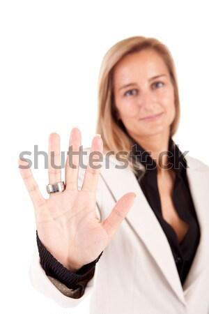 Iş kadını dur işareti yalıtılmış beyaz iş Stok fotoğraf © hsfelix