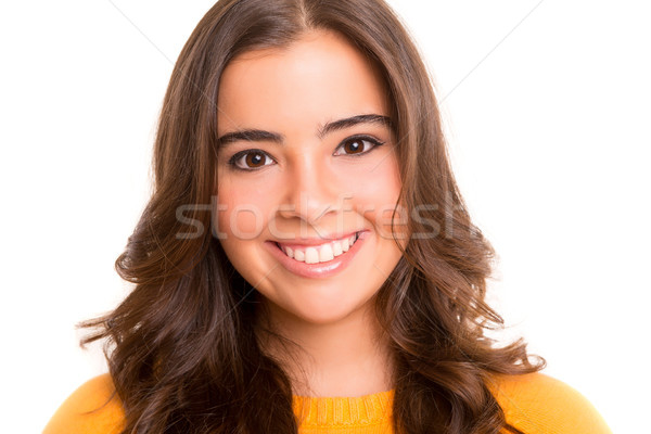 Student jonge vrouw poseren witte boek Stockfoto © hsfelix
