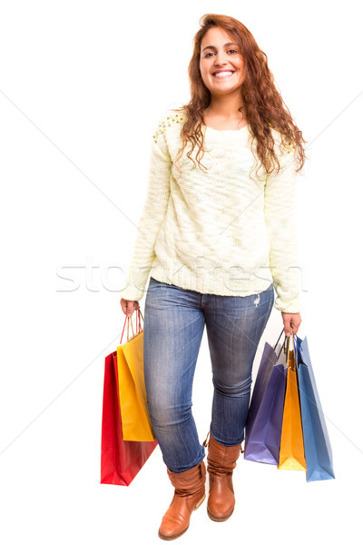 Vásárlás boldog gyönyörű nő bevásárlótáskák nő tél Stock fotó © hsfelix