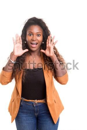 Mutlu Afrika kadın kız el Stok fotoğraf © hsfelix