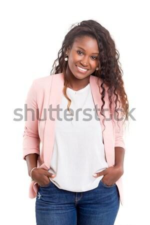 африканских женщину красивой молодые позируют изолированный Сток-фото © hsfelix