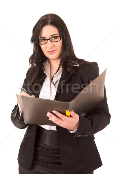 Femme d'affaires heureux isolé blanche travaux Photo stock © hsfelix