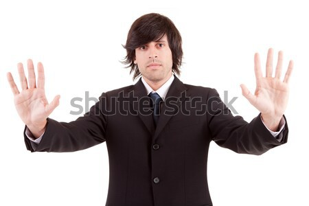üzletember készít stoptábla izolált kéz felirat Stock fotó © hsfelix