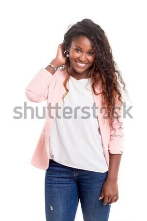 Wow étonné femme isolé blanche heureux Photo stock © hsfelix