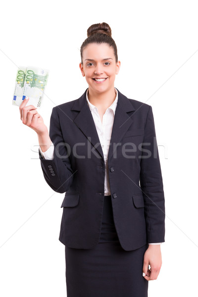 Ja extra cash geslaagd zakenvrouw tonen Stockfoto © hsfelix
