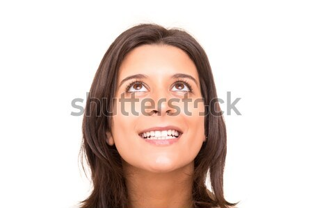 Silêncio belo mulher jovem isolado cara Foto stock © hsfelix