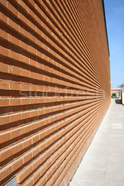 Modern Building with red bricked wall in perspective Stock photo © hsfelix