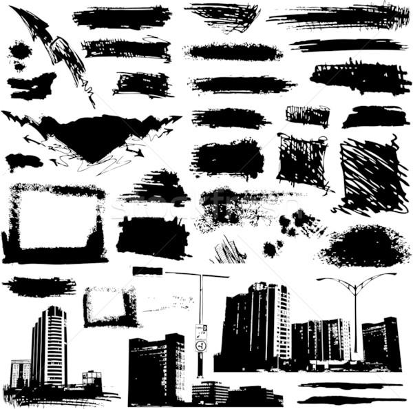 Vector set of grunge elements and urban design Stock photo © hugolacasse