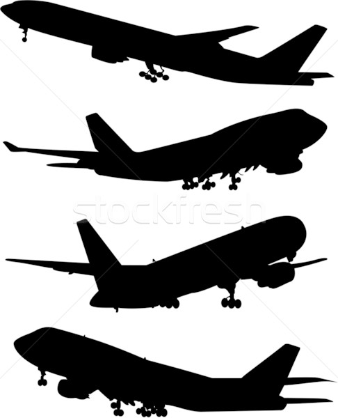 airplane silhouette set Stock photo © hugolacasse