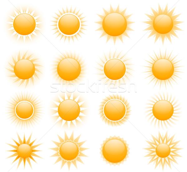 Vector sun icons Stock photo © hugolacasse