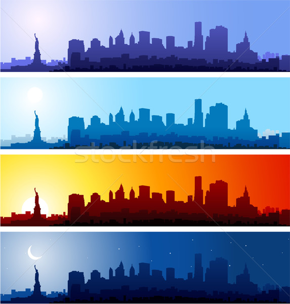 Cityscapes silhouettes background Stock photo © hugolacasse