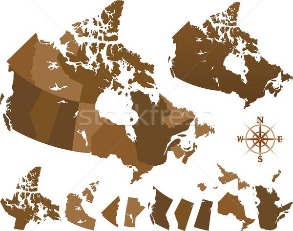 Канада карта флаг 3d иллюстрации изолированный Сток-фото © hugolacasse