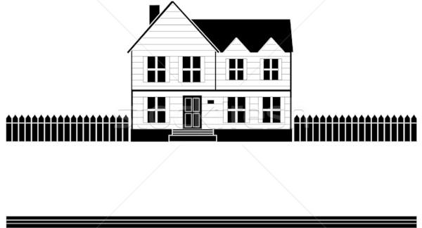 Ingatlan ház szalag építkezés otthon fekete Stock fotó © hugolacasse