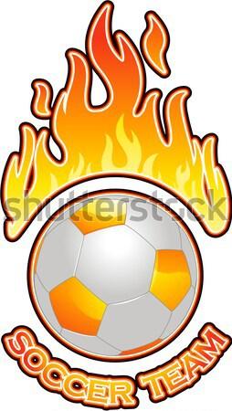 Tűz futball embléma sport futball Stock fotó © hugolacasse