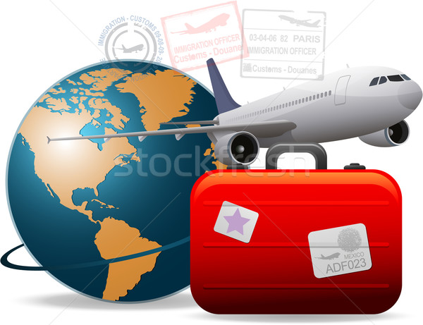 Travel airplane concept Stock photo © hugolacasse