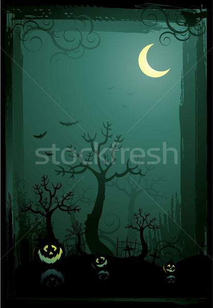 Halloween illusztráció égbolt ház kéz film Stock fotó © hugolacasse