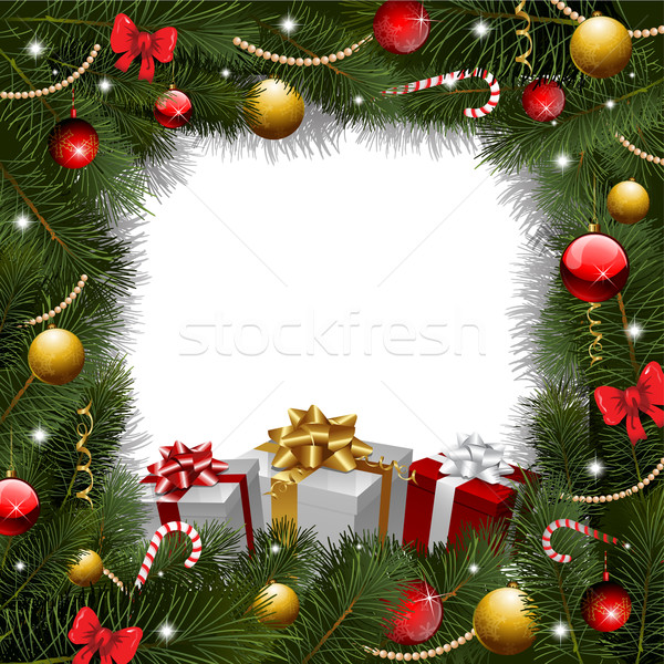 Karácsony koszorú ajándékok karácsonyfa boldog doboz Stock fotó © hugolacasse