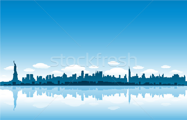 New York cityscape ville Skyline peinture noir Photo stock © hugolacasse