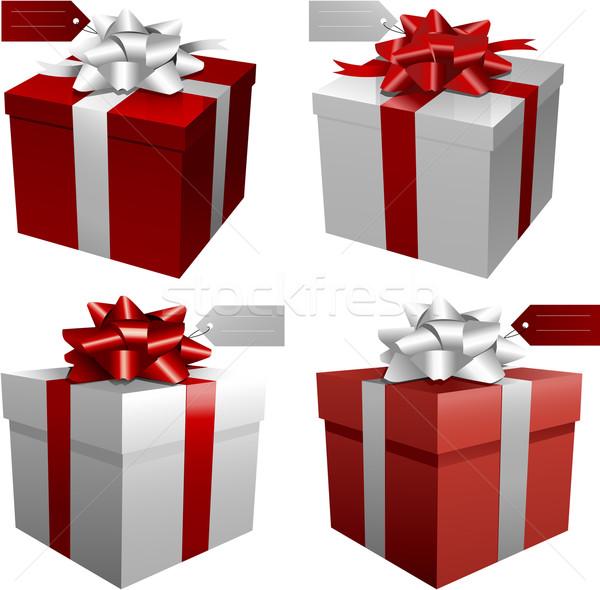 Caixas de presente natal aniversário casamento verde azul Foto stock © hugolacasse