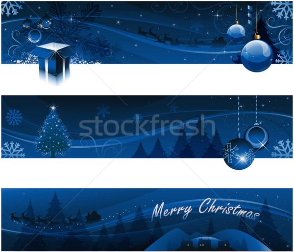 Christmas banery kartkę z życzeniami niebo śniegu księżyc Zdjęcia stock © hugolacasse