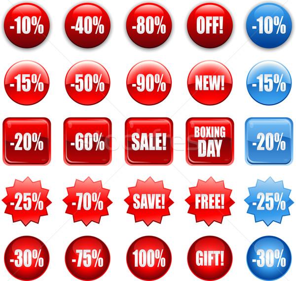 Czerwony zakupy sprzedaży ikona Zdjęcia stock © hugolacasse