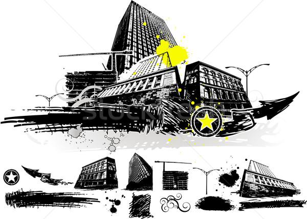 Városi város terv elemek épület absztrakt Stock fotó © hugolacasse