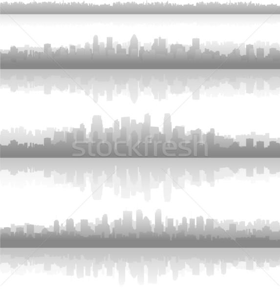 Stockfoto: Stad · landschap · reflectie · water · gebouw · achtergrond