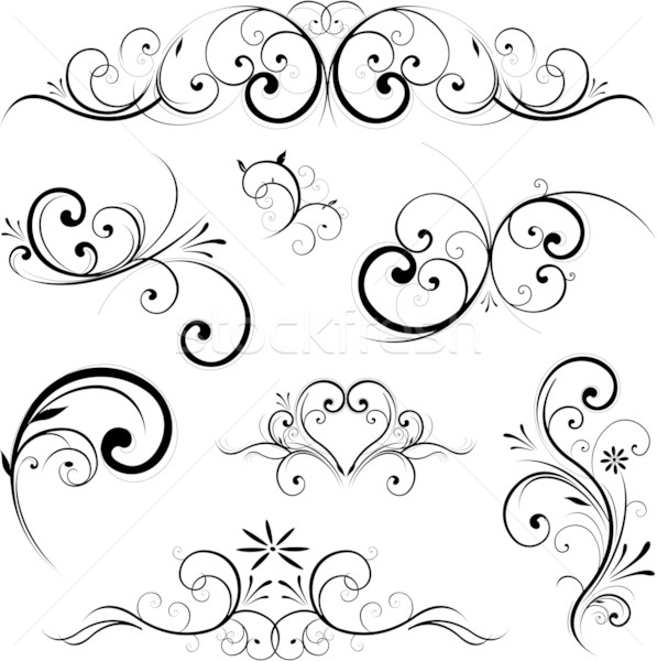 Swirling flourishes decorative floral elements Stock photo © hugolacasse