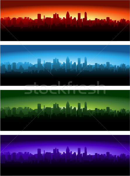 Városkép különböző idő nap éjszaka reggel Stock fotó © hugolacasse