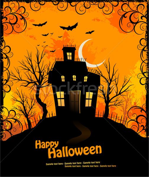 Halloween boom licht web nacht schedel Stockfoto © hugolacasse