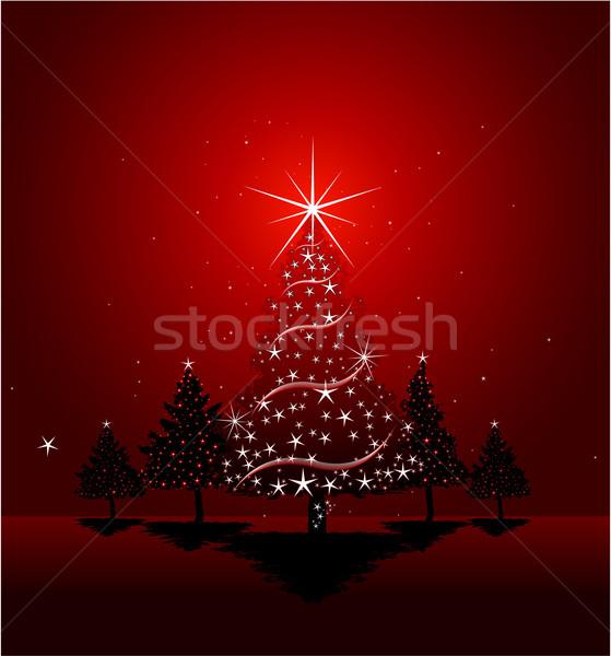 クリスマス グリーティングカード デザイン 家 ツリー パーティ ストックフォト © hugolacasse