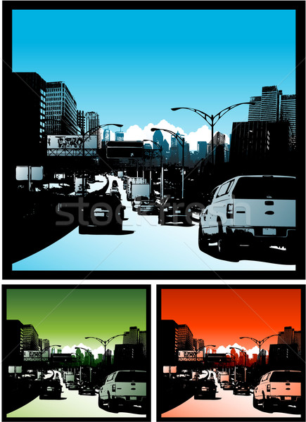 Traffic jam background downtown city Stock photo © hugolacasse