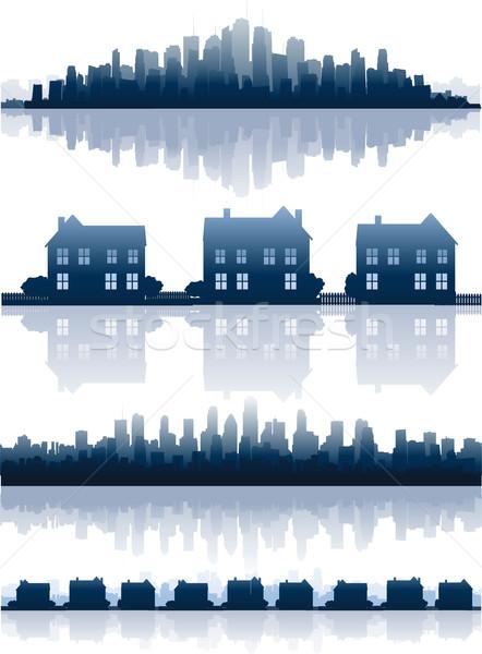 Stadsgezicht silhouet gebouw stad home Stockfoto © hugolacasse