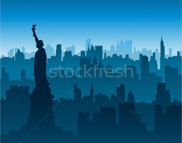 Photo stock: New · York · cityscape · ville · Skyline · peinture · noir