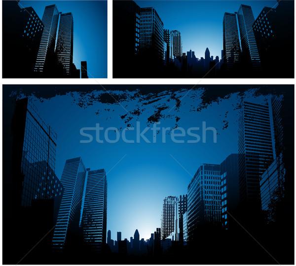 Mavi şehir şehir merkezinde Cityscape iş ağaç Stok fotoğraf © hugolacasse