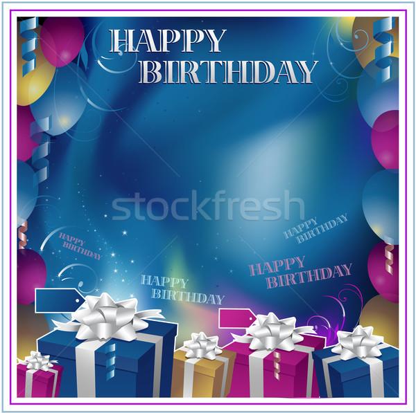 Boldog születésnapot keret szeretet doboz levél ajándék Stock fotó © hugolacasse