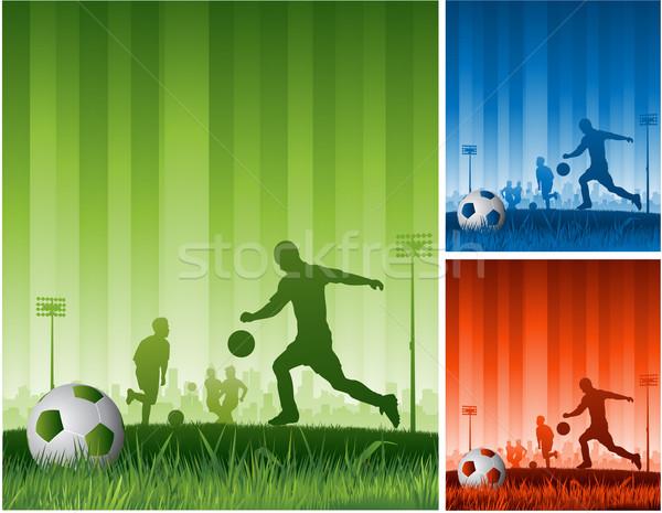 Piłka nożna trawy sportu świat niebieski zespołu Zdjęcia stock © hugolacasse