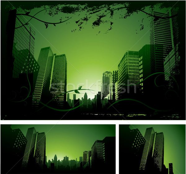 Green downtown city background Stock photo © hugolacasse
