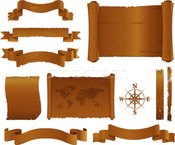 アンティーク 古い バナー 羊皮紙 フラグ 文書 ストックフォト © hugolacasse