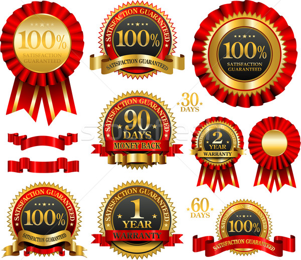 Vector set of 100% guarantee golden labels Stock photo © hugolacasse