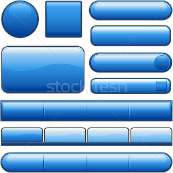 Kék fényes weboldal internet média gombok Stock fotó © hugolacasse