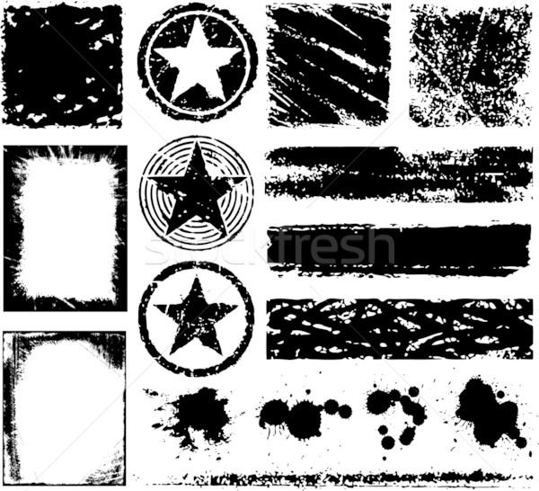 Zdjęcia stock: Wektora · grunge · ramki · podpisania · czarny · splash
