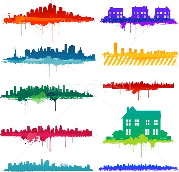 Paint splat city design Stock photo © hugolacasse