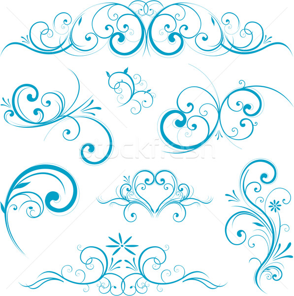 Blue swirling flourishes floral elements Stock photo © hugolacasse