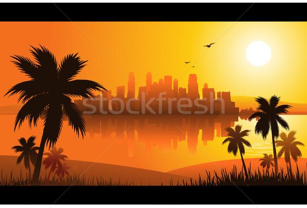 Tropikal çiçek deniz arka plan yaz palmiye Stok fotoğraf © hugolacasse