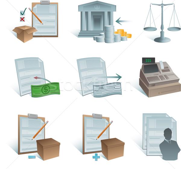 Rachunkowości ikona biuro budynku streszczenie biznesmen Zdjęcia stock © hugolacasse
