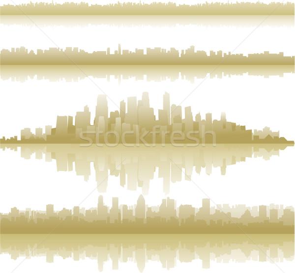 Miasta krajobraz refleksji wody budynku tle Zdjęcia stock © hugolacasse