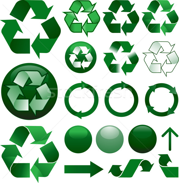 Recycle icons set Stock photo © hugolacasse