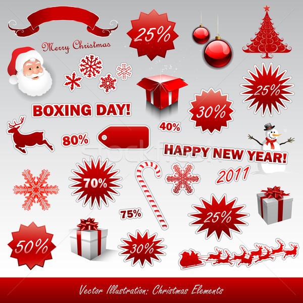Christmas boks dzień ikona kolekcja star Zdjęcia stock © hugolacasse